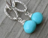Sweet Turquoise Wire Wrapped Sterling Link Earrings December Birthstone