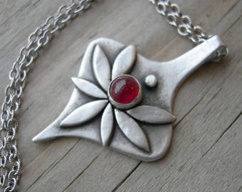 Rhiannon Goddess Pendant Sterling Ruby July Birthstone Necklace