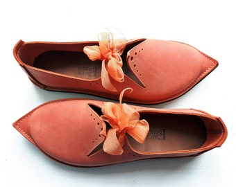 All weather Fairytale shoes, TITANIA, Handmade Leather Fairytale Shoes in Marmalade