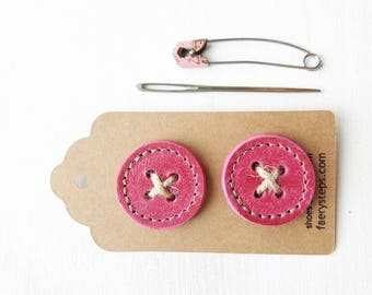 Big leather handmade borrower BUTTONs on gift tag. Perfect for all knitwear. 30mm X 2 in mischief pink