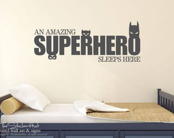 An Amazing Superhero Sleep Here Decal - Nursery Bedroom Decor  - Vinyl Lettering -Vinyl Wall Art Words Decals Graphics Stickers Decals 1986