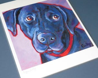 BLACK LAB Dog 8x10 Signed Art Print from Painting by Lynn Culp