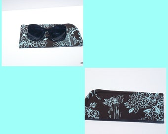 Eyeglass or Sunglass Case Pouch Brown Asian Toile Choose your Size