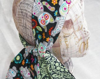 Dia de Los Muertos Headwrap Retro Pin Up Hair Scarf Reversible Choose Your Print