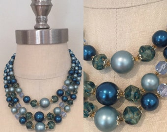 50s Teal Blue and Light Blue Triple Strand Pearl Graduated Necklace Japan