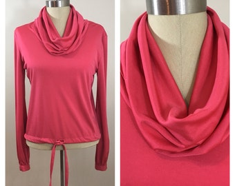 70s Qiana by Lady Manhattan Coral Pink Cowl Neck Drawstring Top, Size Small to Medium