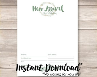 Instant Download* Digital PDF Watercolor Wreath Mint Sage Green Digital Baby Book Pages