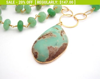 20% Off Sale Chrysoprase Pendant Necklace, Rosary Style, Gold, Mint Green, Brown, Statement Necklace, Large Pendant