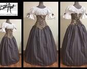Antique Lavender Maiden - Steampunk Renaissance Corset and Stripe Skirt Set by LoriAnn Costume Designs Top add on option XS S M L XL 2X 3X
