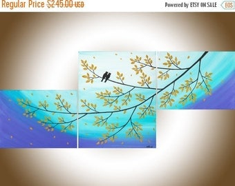 Owl painting set of 3 wall art acrylic landscape painting home decor wall art canvas art shabby chic by QIQIGALLERY