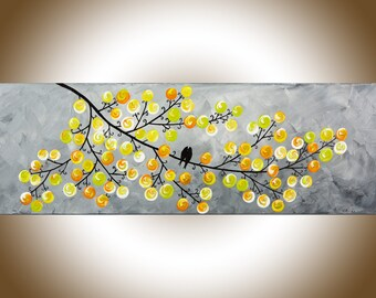 Yellow painting love birds art modern wall art home decor wall decor wall hanging original artwork by qiqigallery