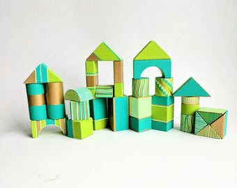 Hand Painted Wooden Building blocks Set of 26 wooden blocks set shades of green and gold