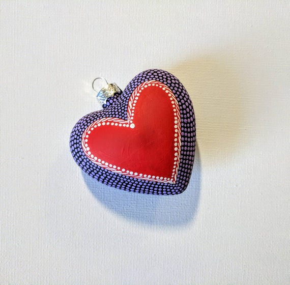 Heart ornament: Hand painted glass heart ornament purple red white and black dot Painting Love Heart