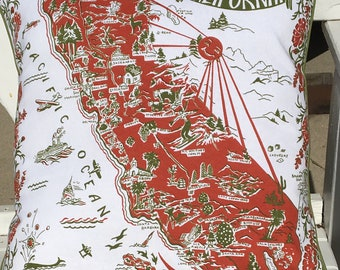 "California Pillow Cover, 18"" Red Retro California Pillow Cover, California Map Pillow Cover, California Souvenir"