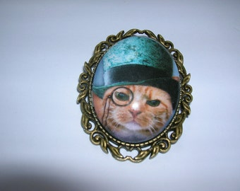 handsome steampunk victorian gentleman cat brooch