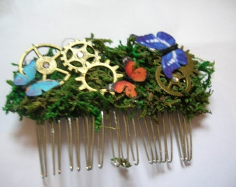 one of a kind fairy fantasy steampunk butterfly comb/fascinator