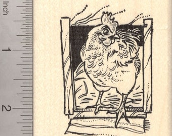 Chicken Rubber Stamp K7718 Wood Mounted
