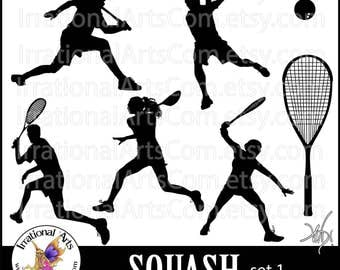 Squash Silhouettes set 1 - 7 PNG digital graphics players racket ball [Instant Download]