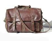 Brown Leather Multipocket Organizer Bag Messenger Portfolio Laptop Briefcase