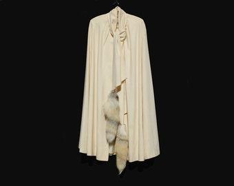 Vintage White Wool Fox Tail Cape
