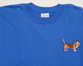 SALE - Large Basset Hound Dog Royal Blue Short Sleeve Tee Shirt - Price Embroidery Apparel