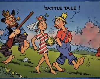 Postcard Tattle Tale Shotgun Wedding Comic Hillbilly Chrome Unused