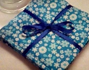 Mug Rug Set of 4, FLOWERS on BLUE, Fabric Coasters, Handmade, Hostess Gift, FREE Shipping in USet