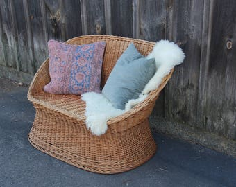 Boho Wicker Loveseat