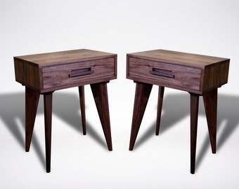 Modern Apartment Side Table Walnut