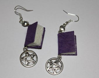 Purple Miniature Bound Book Earrings With Pentacles