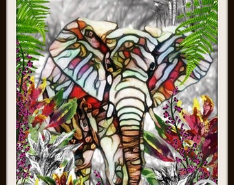 Elephant Original Art-One of a kind - Animal Kingdom--8.5x11