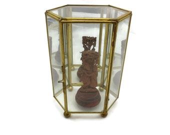 Clear Glass Box Display Case - Tall Geometric Glass Jewelry Box, Footed, Mirrored Back