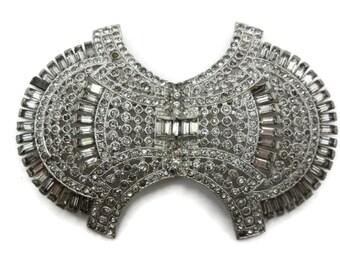 Art Deco Rhinestone Brooch - Costume Jewelry