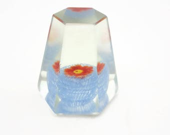 Glass Paperweight - Mini Millefiori & Latticino Red Flower Blue