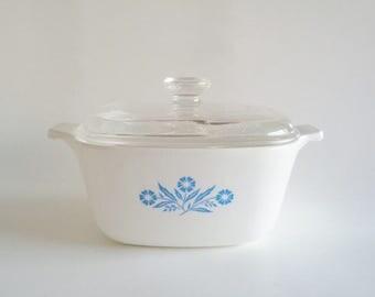 Corning Ware Blue Cornflower 1 3/4 Quart Casserole Dish with Glass Lid