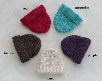 MICRO PREEMIE Hat - up to 30 weeks / 3 lb - NICU Kangaroo Care - five colour choices (red, turquoise, purple, ivory, brown) - ready to ship