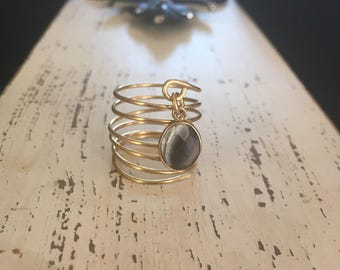 Beautiful Coil Gemstone adjustable Ring