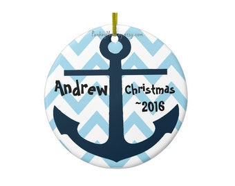 Personalized christmas ornament custom anchor ornament chevron name date boys girls ornament first christmas navy coast guard nautical beach