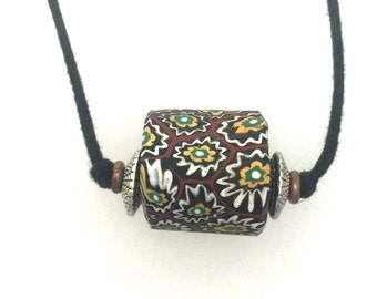 African Trade Bead Two Knot Necklace