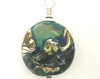 On Sale Lamp Work Bead Pendant, Earth Elements.