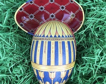 "Tin Egg Yellow & Blue Geometric Tulip Faberge Egg Metal Easter Tin ~ 4-1/4"" tall ~ Old Store Stock TEG-IM-03"