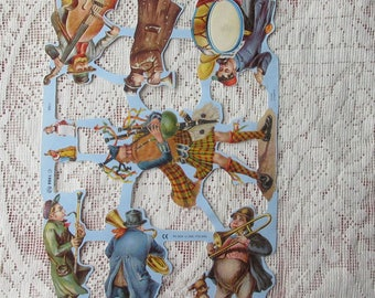 England Vintage Bagpipes Band Musicians Scraps Die Cut Paper Out Of Print 1765