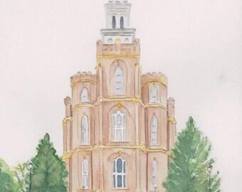 Logan Utah Temple Watercolor Print