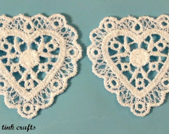 "2"" Venise Lace Heart, 2 Count"