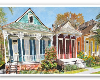 """New Orleans 13x19"""" Double Shotgun House Art Signed Numbered Print """"NOLA Dryades St."""""""