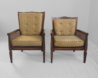 20% SALE 2 HOLLYWOOD REGENCY dark wood & cane accent chairs by Glabman Paramount