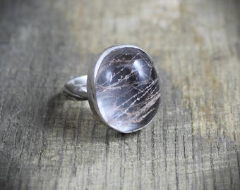 Pink Mossy Rutilated Quartz Ring - Size 8 - READY TO SHIP