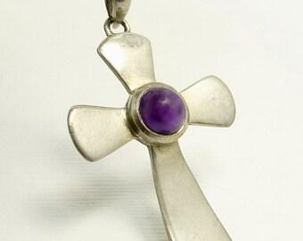 Vintage Sterling Silver Amethyst Cross Pendant Necklace