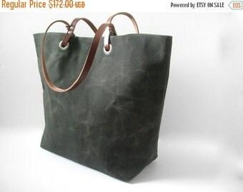 Simple Waxed Canvas Handbag, Canvas Tote Bag in Dark Olive
