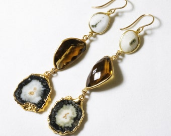 Stalactite Statement Earrings 3-Stone Earrings Whiskey Quartz Earrings Gemstone Earrings One of a Kind February Birthstone ST-E-115-024g